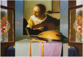 """The lute's player"" - Oil on canvas - 46x65cm"